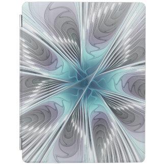 優雅、モダンなブルーグレーの白いフラクタルの花 iPadスマートカバー