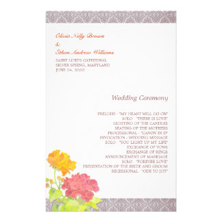 優雅 赤い + オレンジ 花柄 結婚 プログラム 5 5x8 5