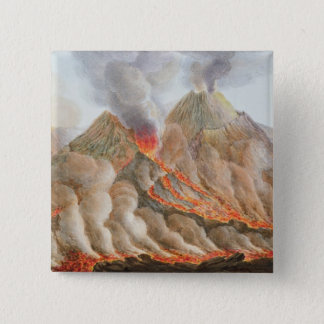 元のスケッチからのヴェスヴィオの噴火口 5.1CM 正方形バッジ