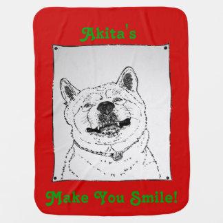 元のポートレートのスローガン犬をsmillingおもしろいな秋田 ベビー ブランケット