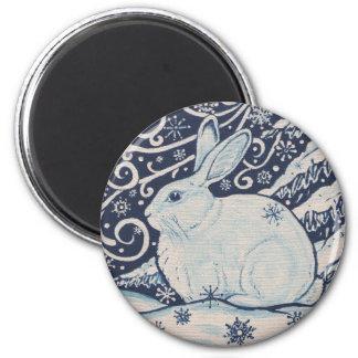 元の冬のクリスマスのウサギの青及び白 マグネット