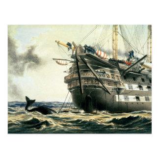 元の大西洋ケーブルを置くHMS Agamemnon ポストカード