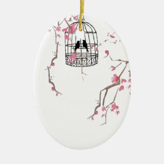 元の桜の鳥かごのアートワーク セラミックオーナメント