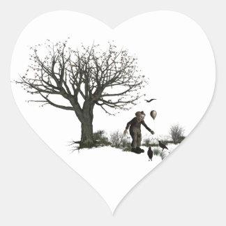 元の気球のピエロの古い木及び黒い鳥 ハートシール