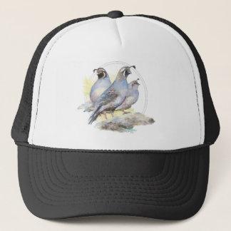 元の水彩画のカンムリウズラの鳥 キャップ