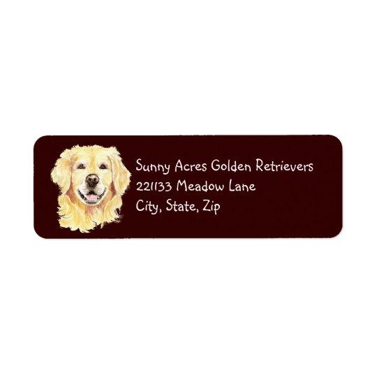 元の水彩画のゴールデン・リトリーバー、犬ペット 返信用宛名ラベル