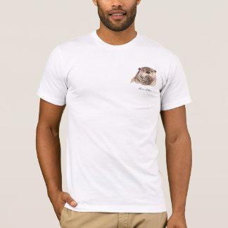 元の水彩画の川カワウソ動物 Tシャツ