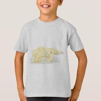元の水彩画の白くま家族動物 Tシャツ