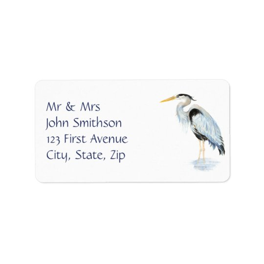 元の水彩画の素晴らしい青鷲の鳥 宛名ラベル