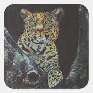元の油絵からの夜のヒョウ スクエアシール