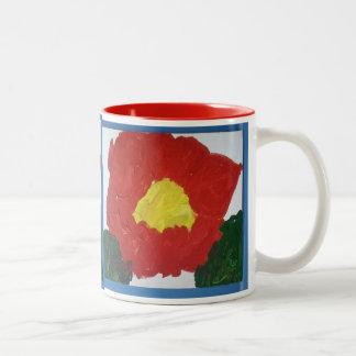 元の絵画の赤い花のマグの自閉症 ツートーンマグカップ