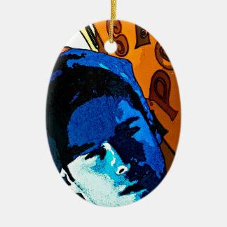 元の絵画-青いサーファーの男の子 陶器製卵型オーナメント
