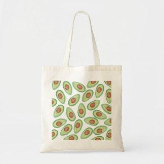 元の緑の茶色の水彩画のアボカドパターン トートバッグ