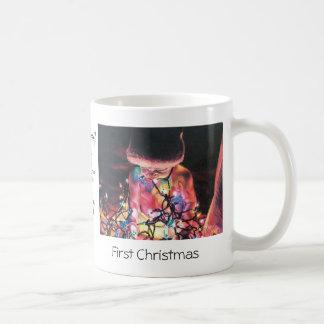 元の芸術のプリントが付いている初めてのクリスマスのマグ コーヒーマグカップ