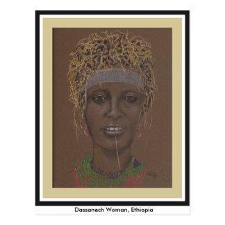 元の芸術の郵便はがき、エチオピアの女性 ポストカード