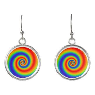 元の虹の勾配のカラフルな螺線形の効果 イヤリング
