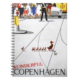 元通りになるコペンハーゲンのヴィンテージ旅行ポスター ノートブック