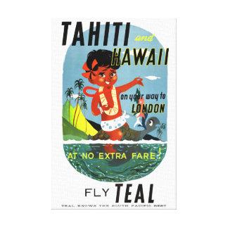 元通りになるタヒチハワイのヴィンテージ旅行ポスター キャンバスプリント