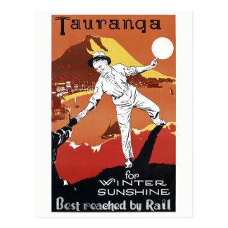 元通りになるニュージーランドタウランガのヴィンテージポスター ポストカード