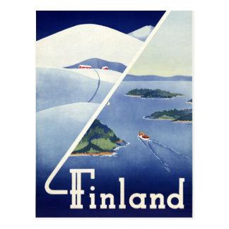 元通りになるフィンランドのヴィンテージ旅行ポスター ポストカード
