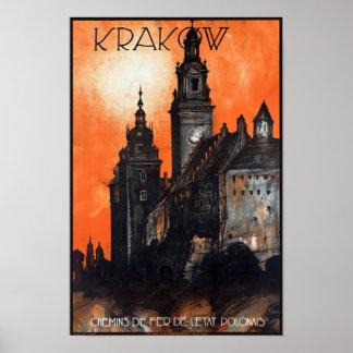 元通りになるポーランドクラクフのヴィンテージ旅行ポスター ポスター