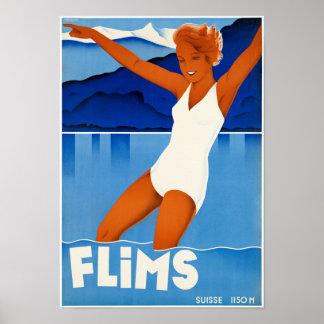 元通りになるFlimsスイス連邦共和国のヴィンテージ旅行ポスター ポスター