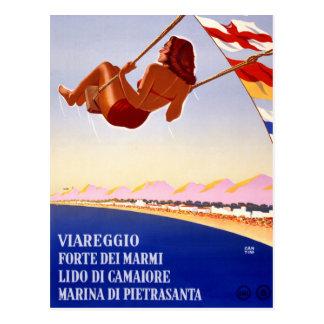 元通りになるViareggioイタリアのヴィンテージ旅行ポスター ポストカード