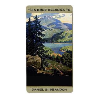 元libris自然山湖のエクスリブリス ラベル