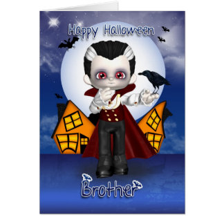 兄弟のおもしろいの吸血鬼のハロウィンの挨拶状 カード