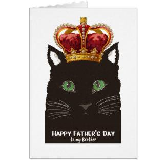 兄弟のための王冠を持つ父の日の黒猫 グリーティングカード