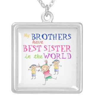 兄弟は最も最高のな姉妹のネックレスを持っています シルバープレートネックレス