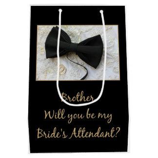 兄弟は花嫁の付き添い人-招待です ミディアムペーパーバッグ
