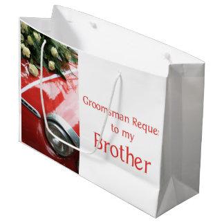 兄弟は   私の花婿の付添人-招待です ラージペーパーバッグ