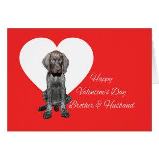 兄弟及び夫の光沢のあるハイイログマのバレンタイン カード