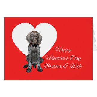 兄弟及び妻の光沢のあるハイイログマのバレンタインの初恋 カード
