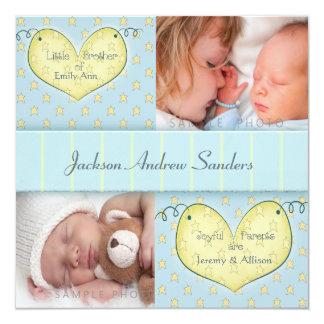 兄弟姉妹の写真の誕生の発表を用いる生まれたばかりのな男の子 カード