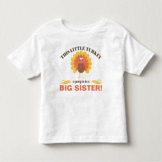 兄弟姉妹の感謝祭の妊娠の発表のワイシャツ トドラーTシャツ