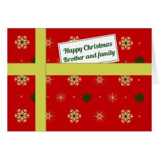 兄弟家族の赤いクリスマスの小包 カード