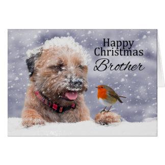 兄弟、クリスマス、ボーダーテリア犬カード グリーティングカード