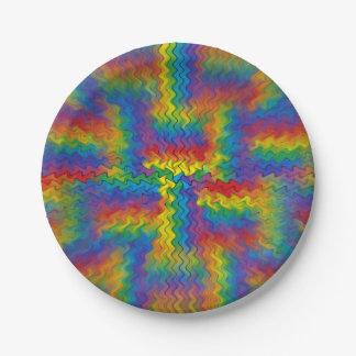 充電された虹の紙皿 ペーパープレート