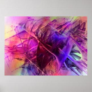 先の尖った光沢があるガラス破片の抽象デザイン ポスター