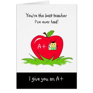 先生のためのかわいい先生の感謝日Apple グリーティングカード