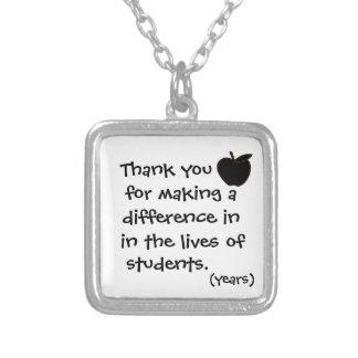 先生のネックレスありがとう シルバープレートネックレス