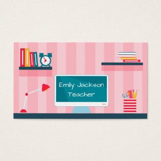 先生のピンクのストライプの学校のテーマ 名刺