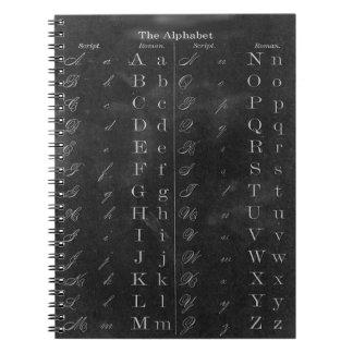 先生のヴィンテージの黒板のアルファベットのノート ノートブック