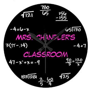 先生の教室の黒板の数学の時計-カスタム ラージ壁時計