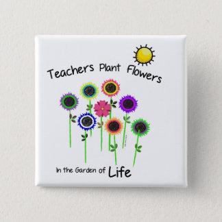 先生の植物によっては正方形のバッジが開花します 5.1CM 正方形バッジ