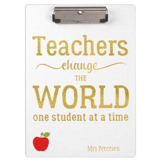 先生の赤いりんごの金ゴールドのタイポグラフィの引用文 クリップボード
