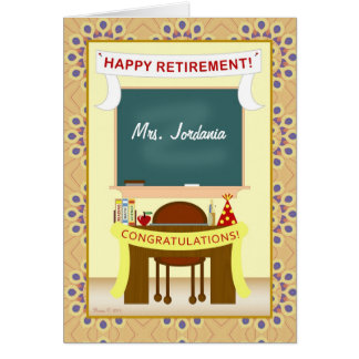 先生の退職の教室の名前入りなカード カード