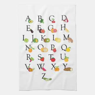 先生の退職AからZのフルーツのVegのアルファベット キッチンタオル